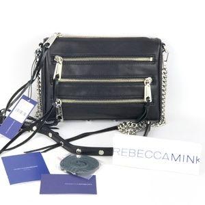 Rebecca Minkoff Black Leather Mini 5 Zip Bag